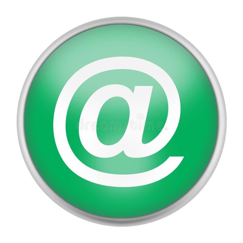 Símbolo gráfico do e-mail do botão da Web verde @ isolado em branco com trajeto de grampeamento ilustração stock