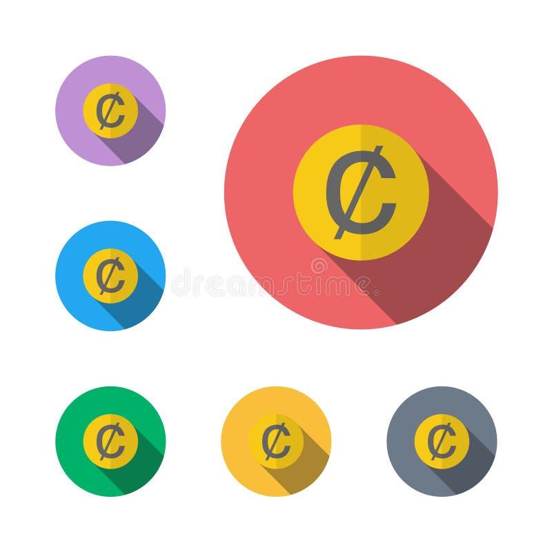 símbolo gráfico liso do símbolo do ícone do dólar do centavo ilustração royalty free