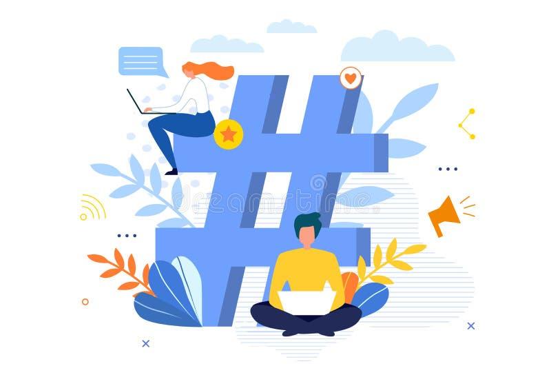 Símbolo grande de Hashtag com os povos que conversam no portátil ilustração stock