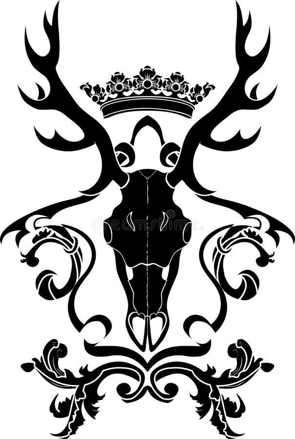 Símbolo heráldico com crânio dos cervos ilustração royalty free