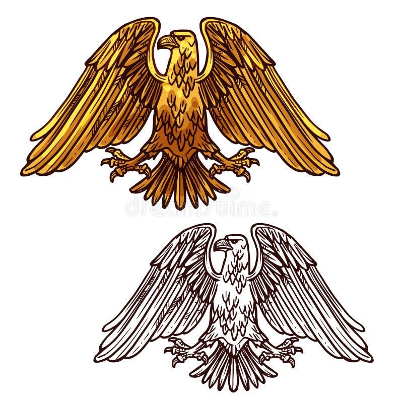 Símbolo heráldico da águia do poder e do vetor da força ilustração royalty free