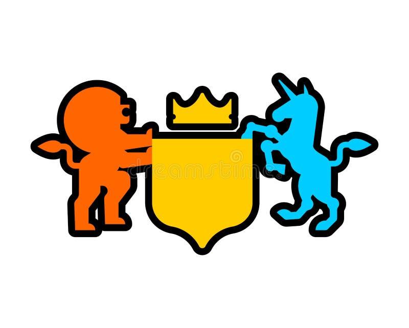Símbolo heráldico del león y de Unicorn Shield Animal de la muestra para la capa de ilustración del vector
