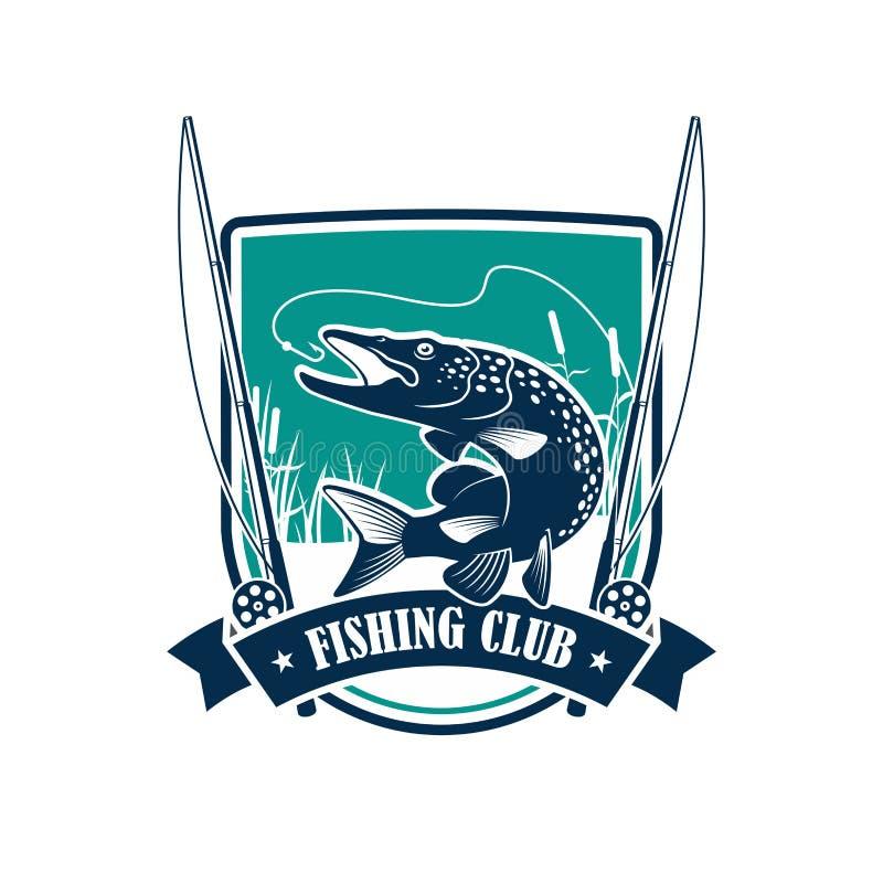 Símbolo heráldico do clube da pesca com peixes do pique ilustração royalty free