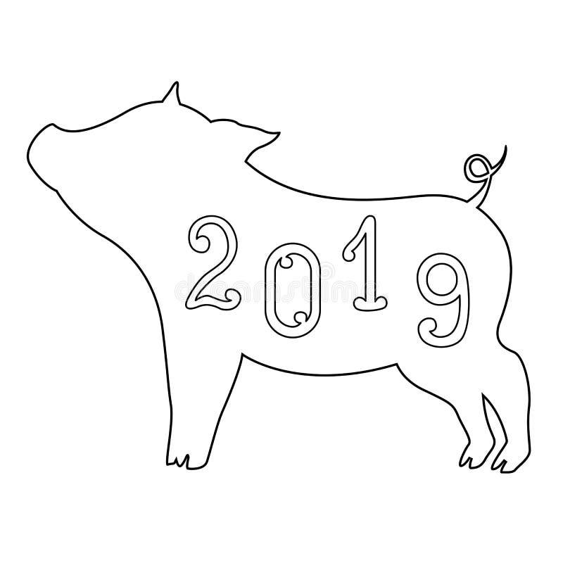 Símbolo Hermoso Del Garabato Del Cerdo 2019 Del Año Para Colorear De