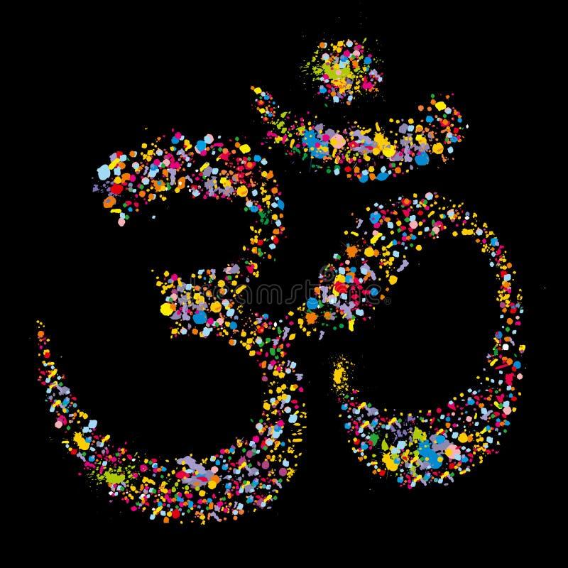 Símbolo hindú religioso OM, vector del Grunge libre illustration