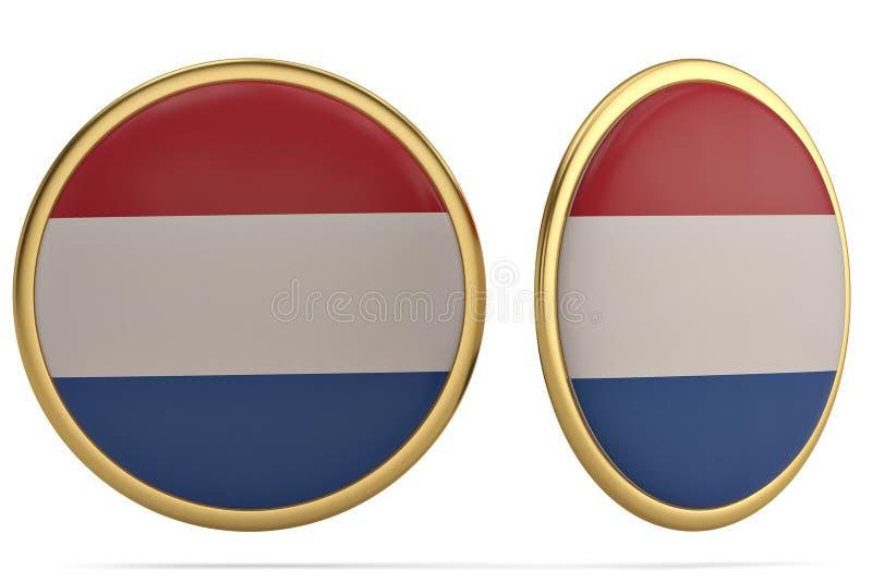 Símbolo holandês da bandeira isolado no fundo branco illustr 3d ilustração royalty free