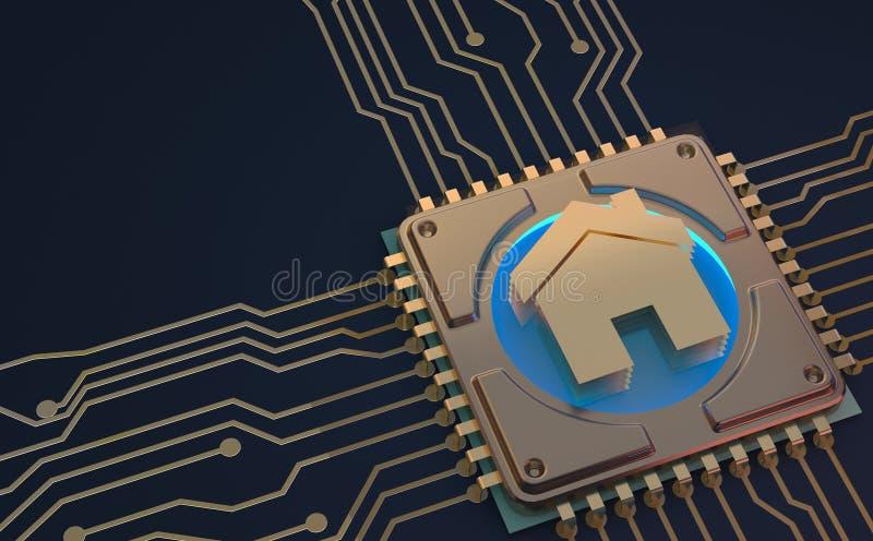 Símbolo home esperto na rendição da placa de circuito 3d ilustração royalty free