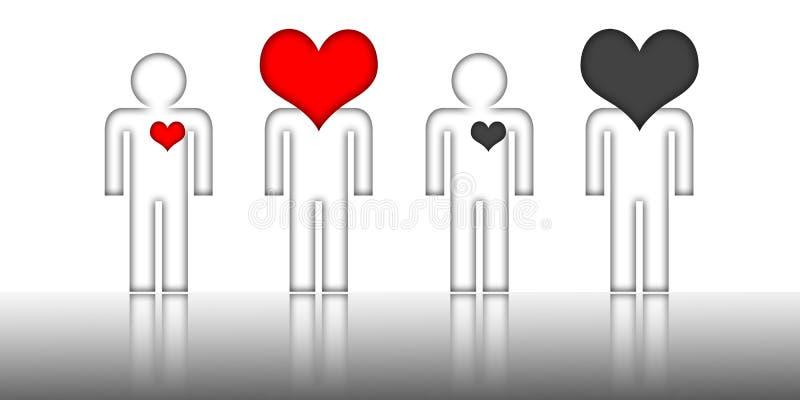 Símbolo humano com coração vermelho e preto ilustração stock