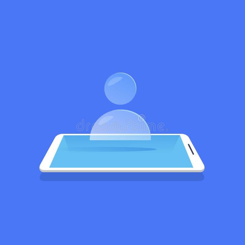 Símbolo humano do avatar do usuário do ícone da pessoa para a aplicação móvel do projeto do Web site no fundo azul liso ilustração royalty free