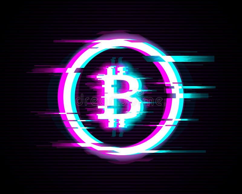 Símbolo iluminado de Bitcoin con efecto de la interferencia sobre fondo moderno stock de ilustración