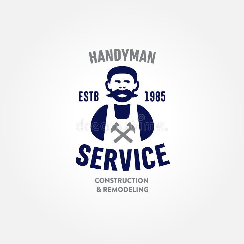 Símbolo incorporado do crachá do serviço do carpinteiro retro do trabalhador manual ilustração do vetor