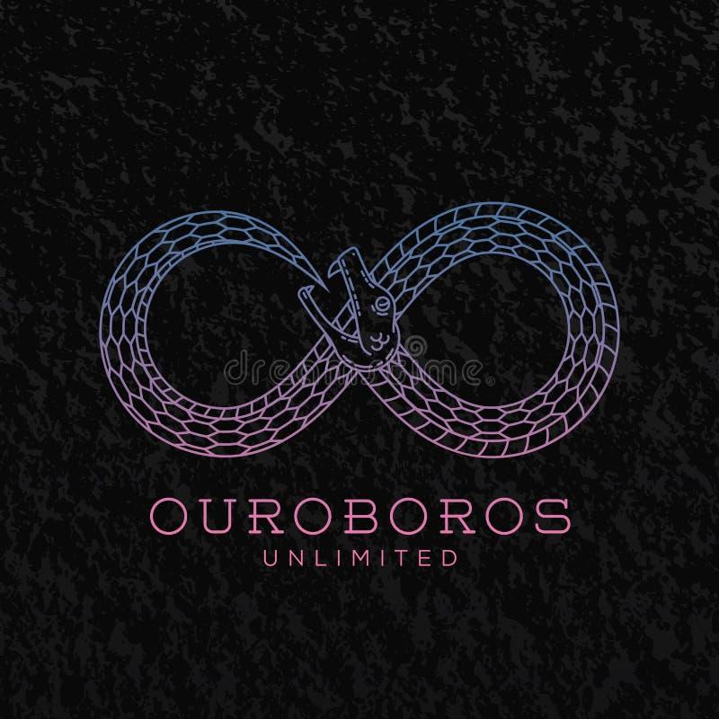 Símbolo infinito de la serpiente de Ouroboros del vector abstracto stock de ilustración