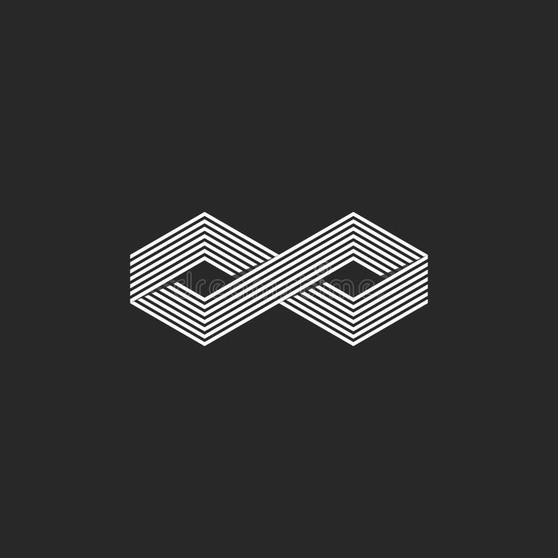 Símbolo infinito isométrico do logotipo de dois cubos, forma geométrica da infinidade que sobrepõe o elemento linear do projeto,  ilustração stock