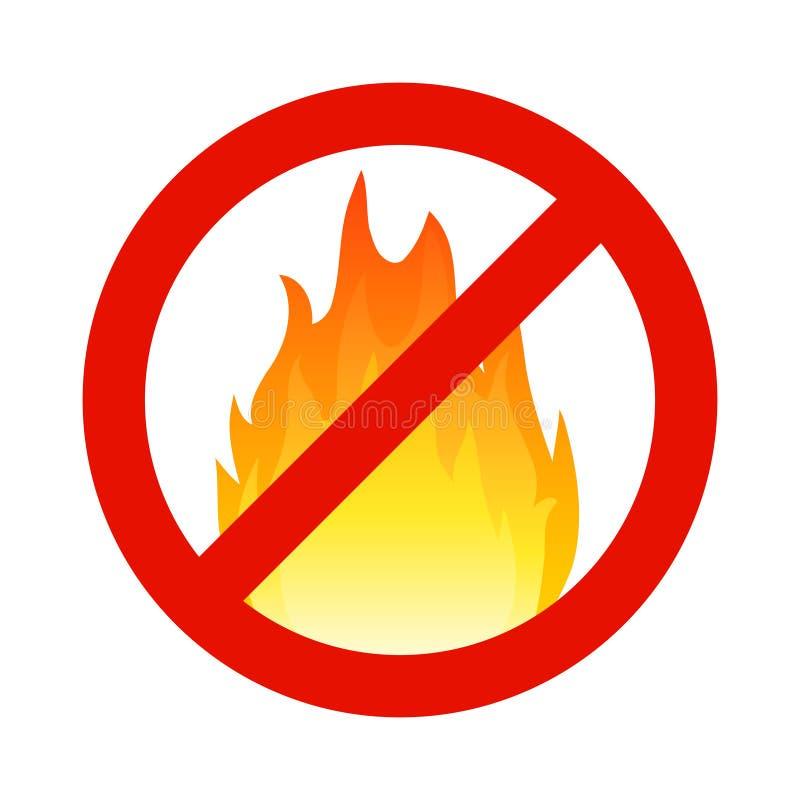 Símbolo inflamável do fogo, sinal da chama do hazzard Ícone de advertência da queimadura da parada da segurança ilustração stock