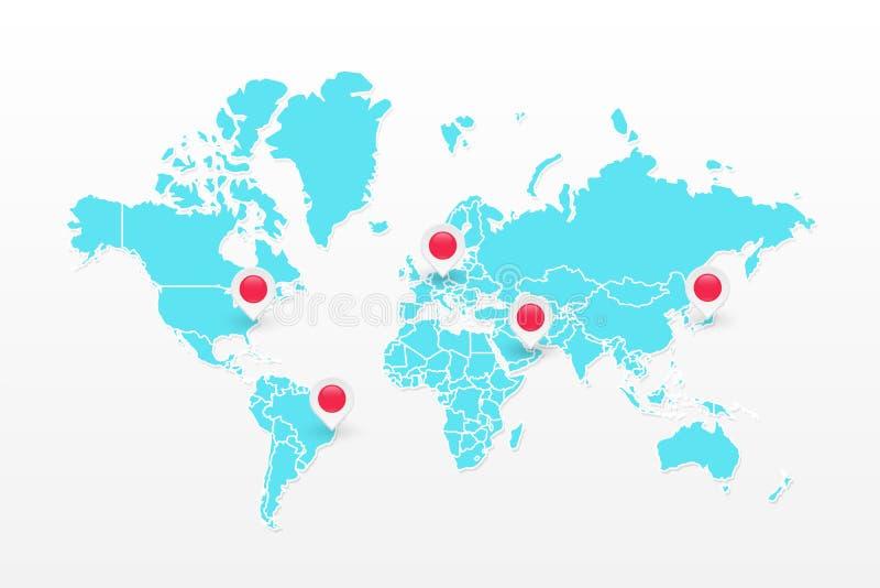 Símbolo infographic del mapa del mundo del vector Icono azul con los indicadores rojos del mapa Muestra global internacional del  ilustración del vector