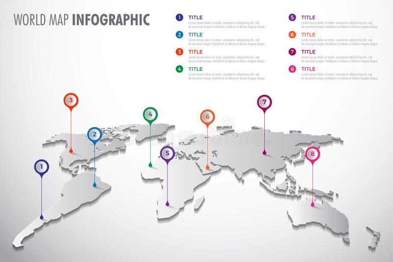 Símbolo infographic del mapa del mundo del vector Icono con los indicadores del color Muestra global del ejemplo stock de ilustración