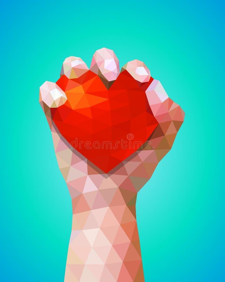 Símbolo internacional dos direitos humanos dia, da mão e dos corações do amor ilustração stock