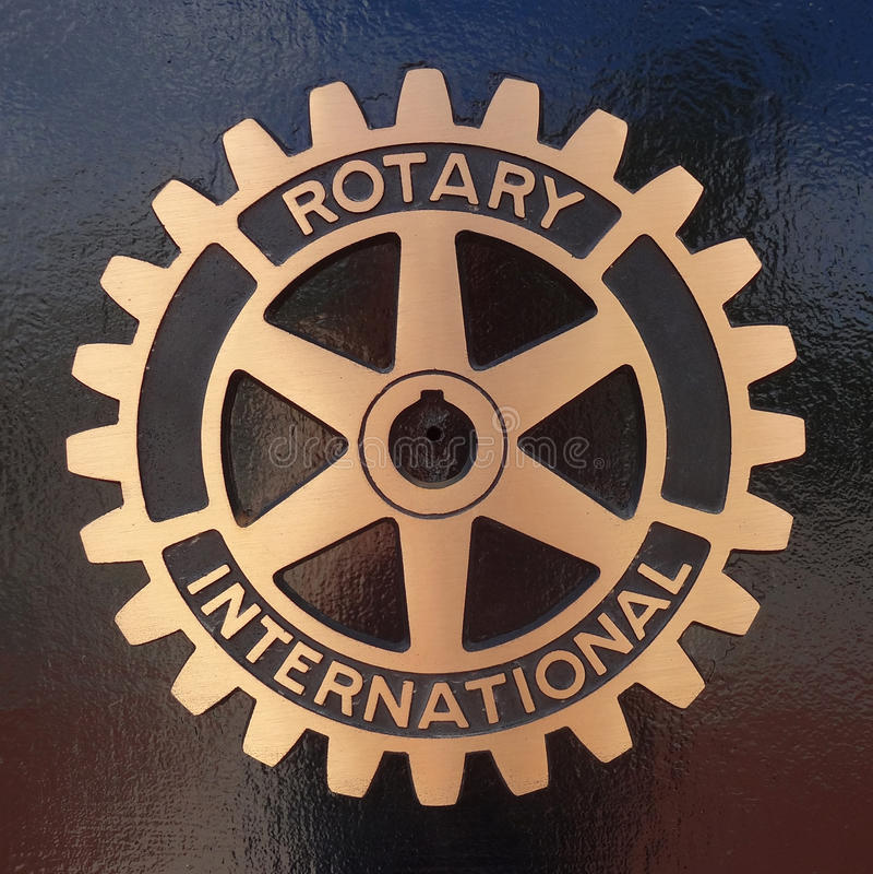 Símbolo internacional e chapa de Rotary Club imagem de stock