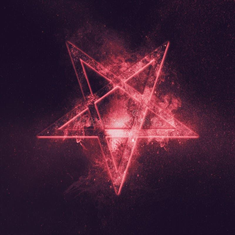 Símbolo invertido del Pentagram Fondo abstracto del cielo nocturno ilustración del vector