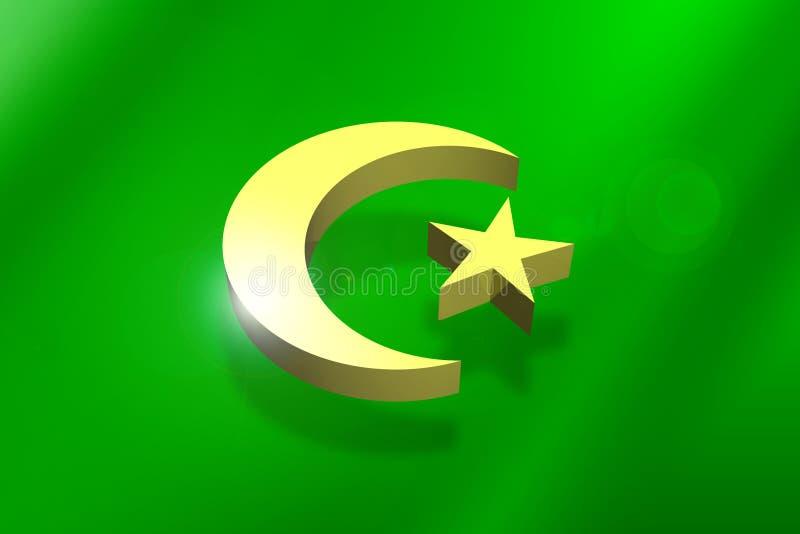 Símbolo islâmico da crescente-estrela ilustração do vetor