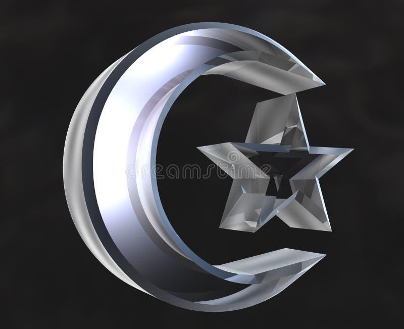 Símbolo islâmico no vidro - 3d ilustração do vetor