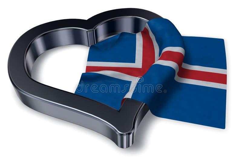 Símbolo islandés de la bandera y del corazón libre illustration