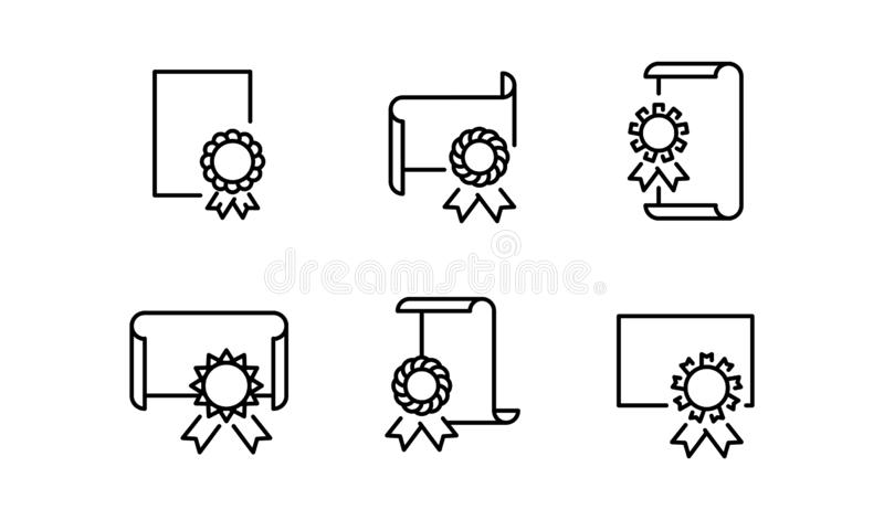 Símbolo isolado do ícone do diploma no fundo limpo ilustração stock