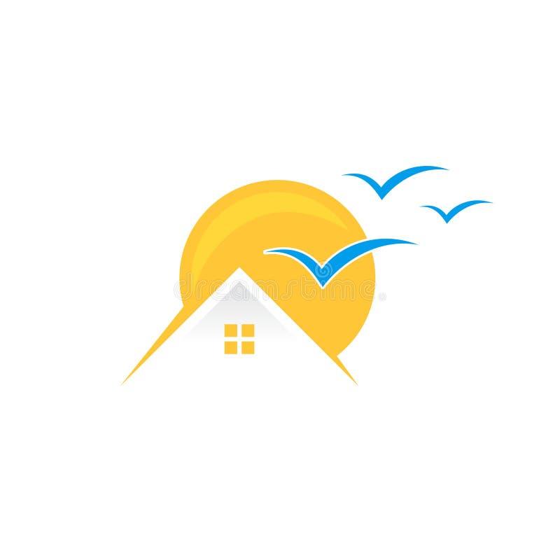 Símbolo isolado do sinal do ícone vetor home tropical ilustração royalty free