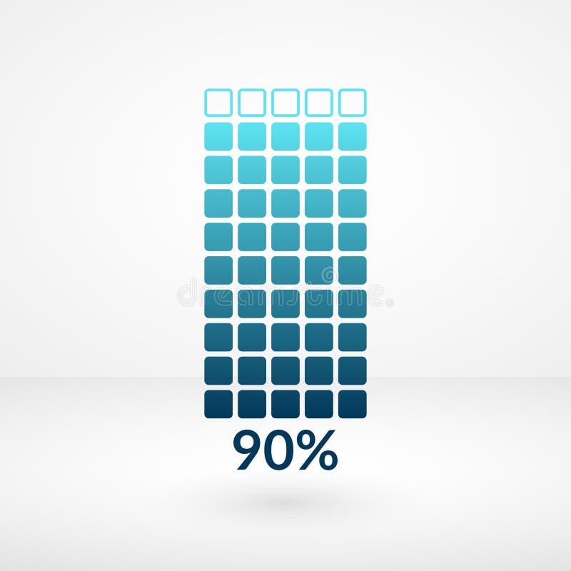Símbolo isolado dos por cento carta quadrada noventa Ícone do vetor da porcentagem para o negócio, Web, transferência ilustração stock