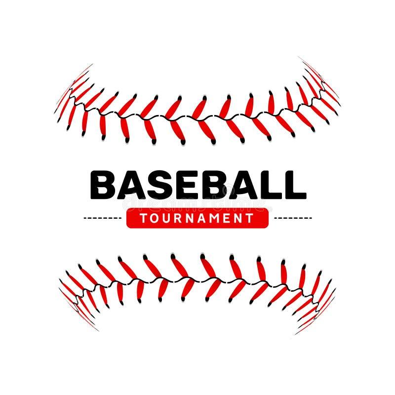 Símbolo isolado ilustração da bola do laço do basebol Projeto do esporte do fundo do basebol do vetor ilustração royalty free