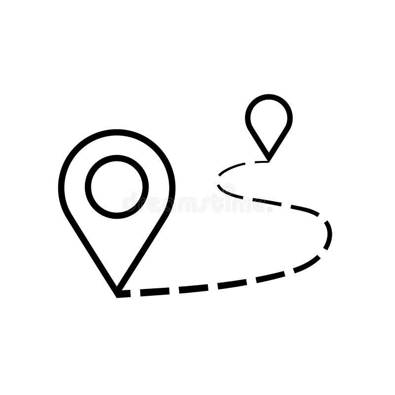 Símbolo isolado ilustração do sinal do vetor do ícone da distância ilustração do vetor