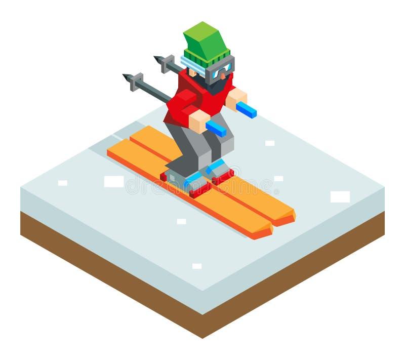 Símbolo isométrico do ícone 3d do esquiador dos feriados da estância de esqui ilustração stock