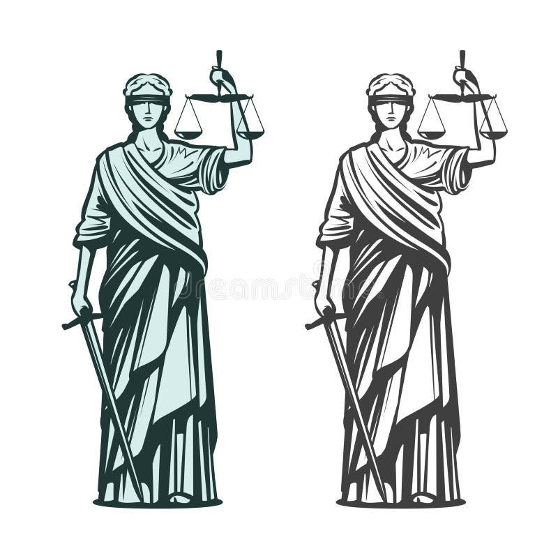 Símbolo judiciário Justiça da senhora com venda, escalas e espada nas mãos Ilustração do vetor do esboço ilustração do vetor