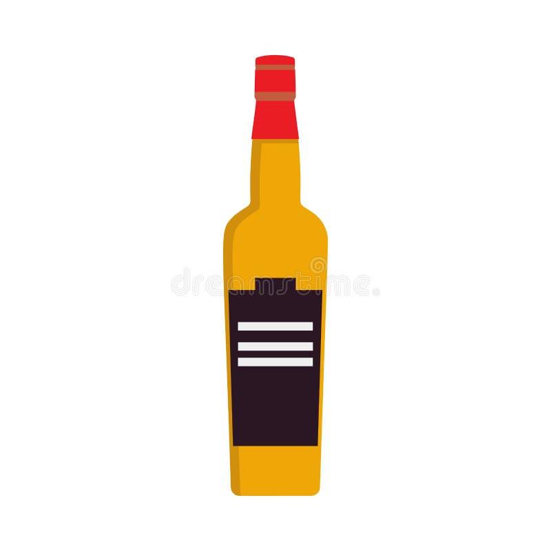 Símbolo líquido do partido da bebida da garrafa de uísque ?lcool de vidro do ?cone do vetor da celebra??o do objeto do conhaque ilustração royalty free
