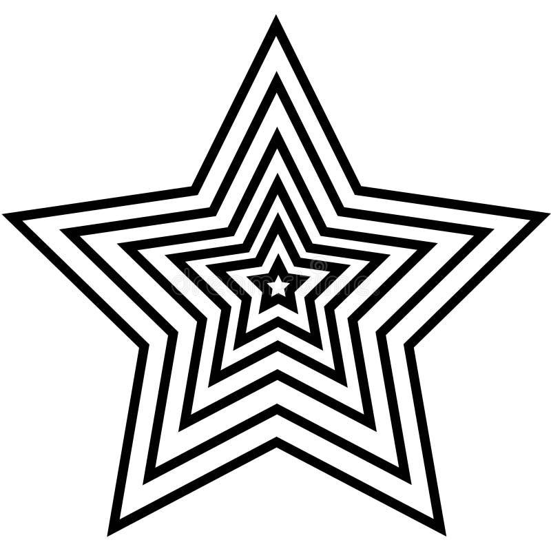 Símbolo linear de una estrella cinco-acentuada de pequeño a haber centrado grande, logotipo, vector libre illustration
