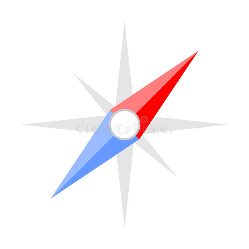 Símbolo liso do ícone do estilo do compasso ilustração stock