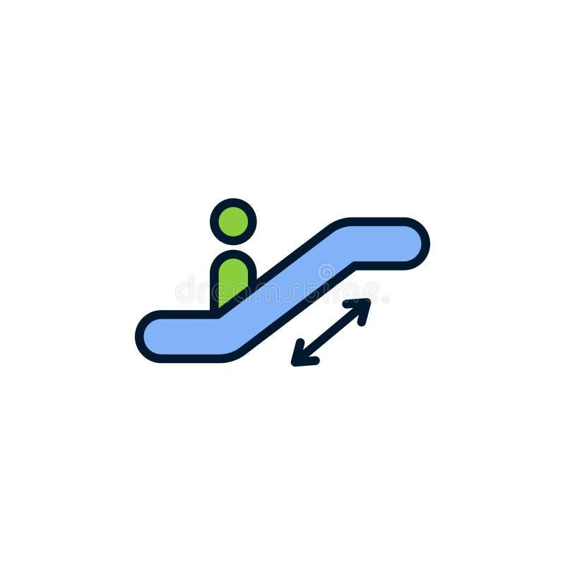 Símbolo liso do sinal do ícone do vetor da escada rolante ilustração royalty free