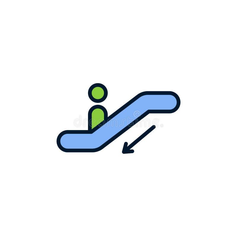 Símbolo liso do sinal do ícone do vetor da escada rolante ilustração stock