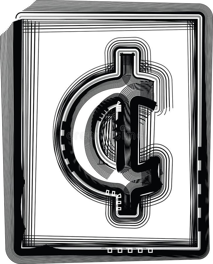 Símbolo listrado do centavo ilustração royalty free