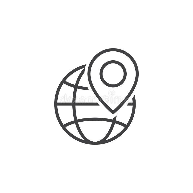 Símbolo local do seo O globo e o marcador do lugar alinham o ícone, esboço v ilustração royalty free