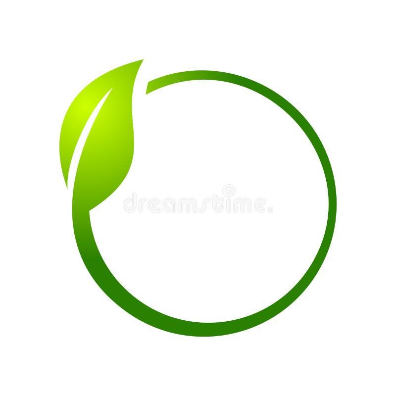 Símbolo Logo Design do círculo da folha de Eco ilustração royalty free