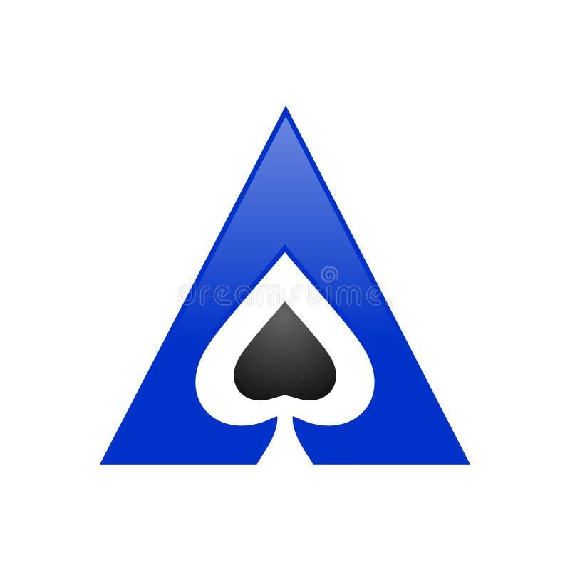 Símbolo Logo Design do triângulo de Ace da pá ilustração stock