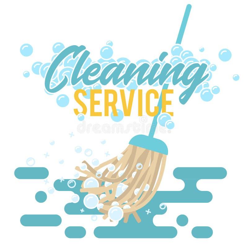 Símbolo, logotipo o etiqueta del servicio de la limpieza Ejemplo del vector de la fregona con las burbujas de la espuma libre illustration