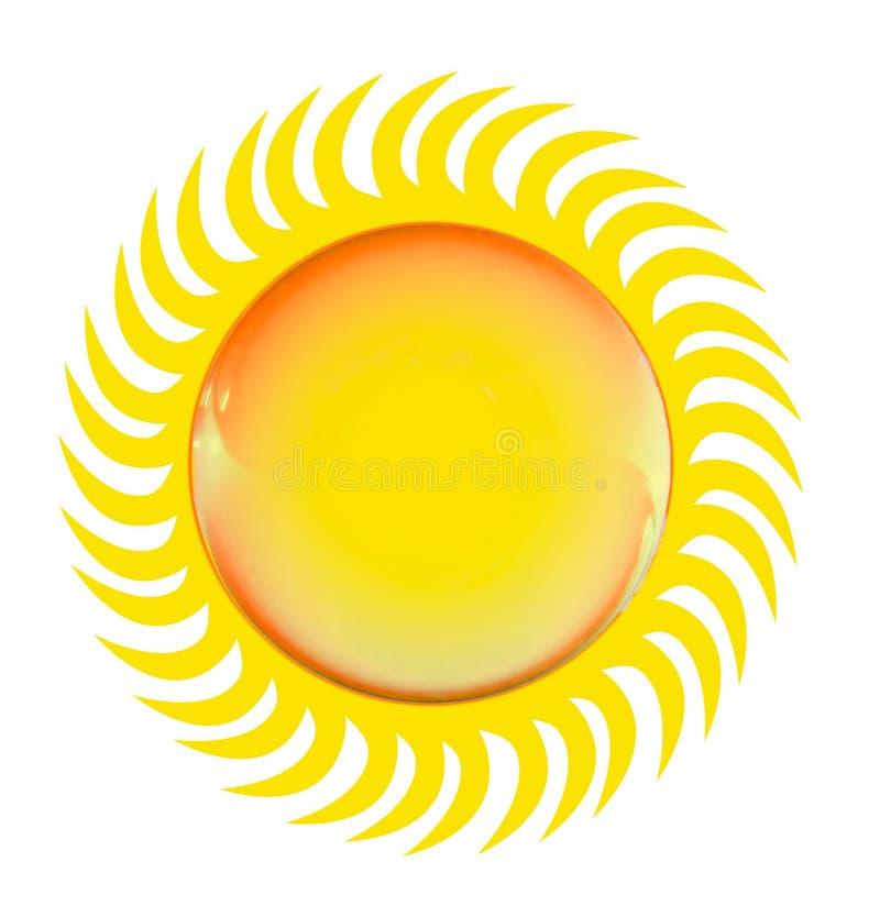 Símbolo lustroso brilhante do sol, isolado no branco ilustração do vetor