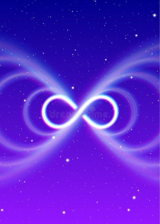 Símbolo mágico da infinidade, lemniscate ou lateralmente oito propagações a energia brilhante místico no espaço espiritual ilustração do vetor