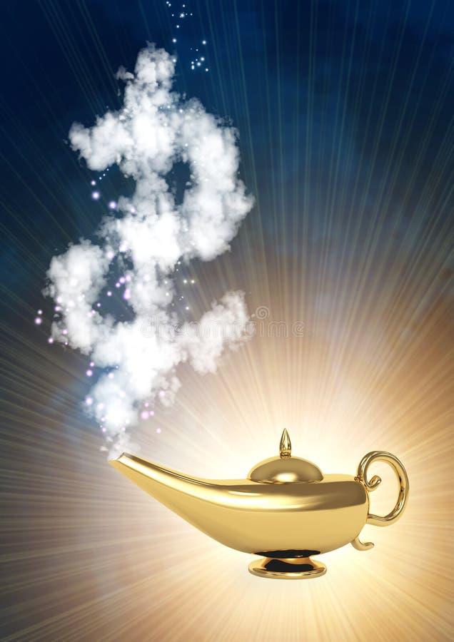 Símbolo mágico da lâmpada e do dólar ilustração do vetor