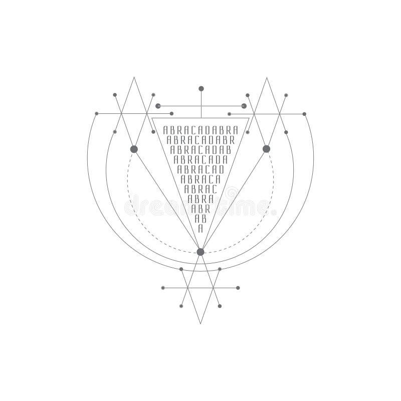 Símbolo mágico de la alquimia del vector logotipo geométrico para la espiritualidad, el ocultismo, el arte del tatuaje y la impre stock de ilustración