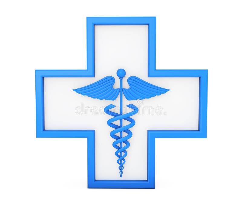Símbolo médico azul do Caduceus na cruz rendição 3d ilustração royalty free