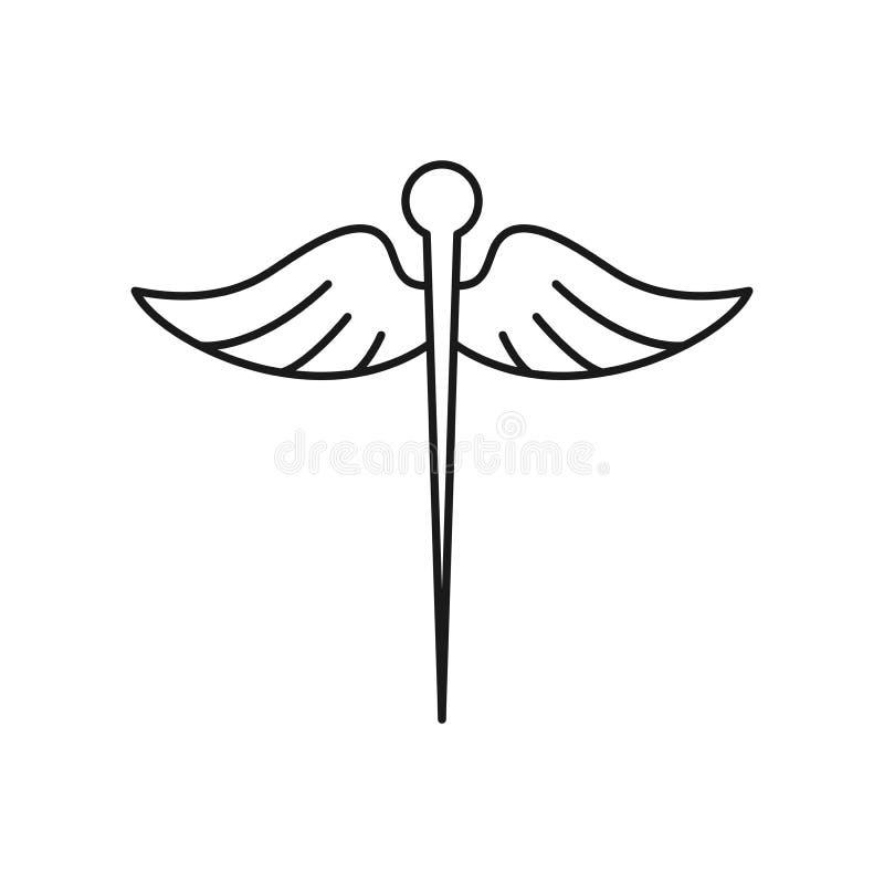 Símbolo médico de la acupuntura de la emergencia del vector del icono de la vida ilustración del vector