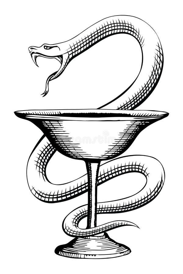 Símbolo médico de la serpiente y de la taza de la farmacia stock de ilustración